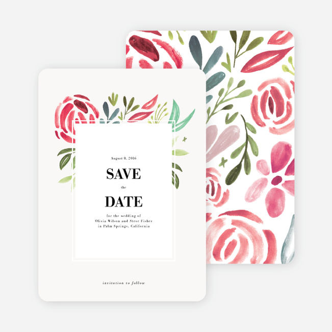 Strokes of Floral Wedding Save the Date Cards - Red
