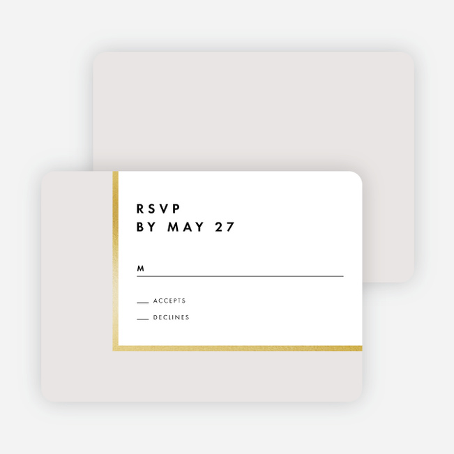 Foil Blocks Wedding Response Cards - Beige