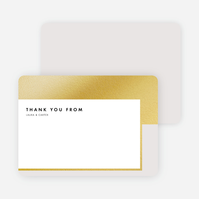 Foil Blocks Wedding Thank You Cards - Beige