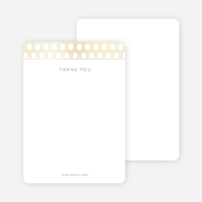 Hexagon Bliss Wedding Thank You Cards - White