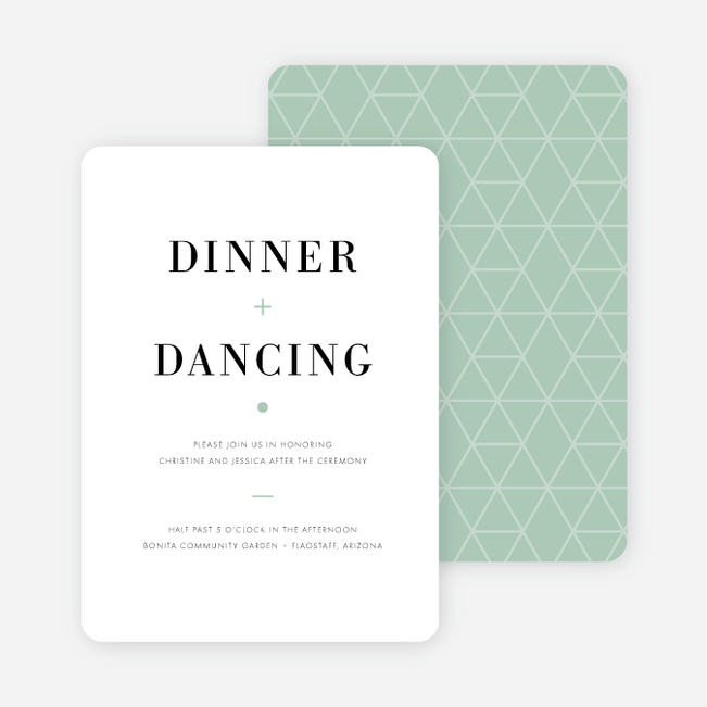 Converging Paths Wedding Reception Cards - Green