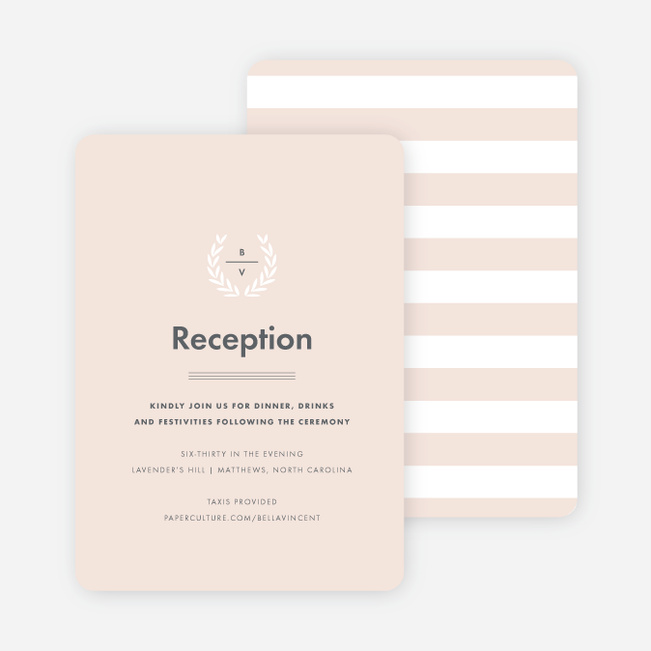 Look to Your Laurels Wedding Reception Cards - Beige