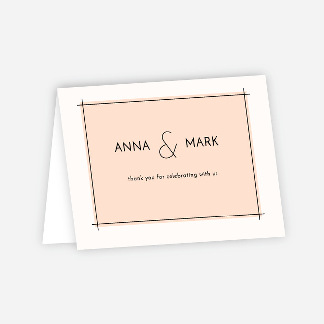 Simple Lines Wedding Thank You Cards - Pink