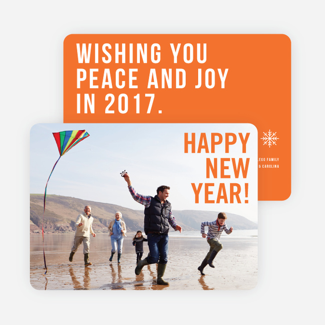 Big Wishes New Year Cards - Orange
