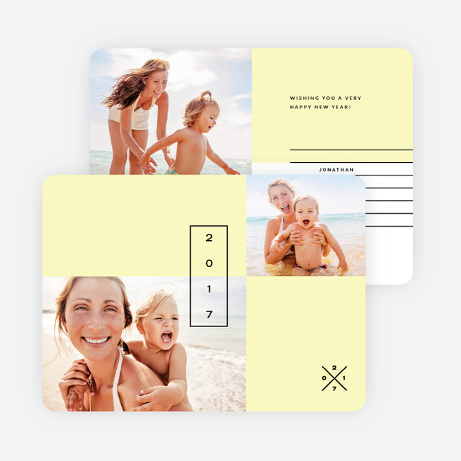 Clean Lines New Year Cards - Yellow
