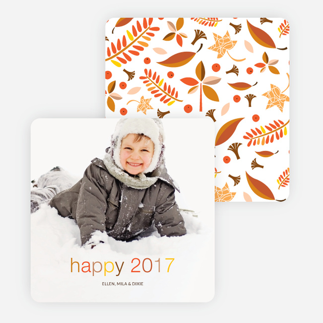 Retro Foliage New Year Cards - Multi