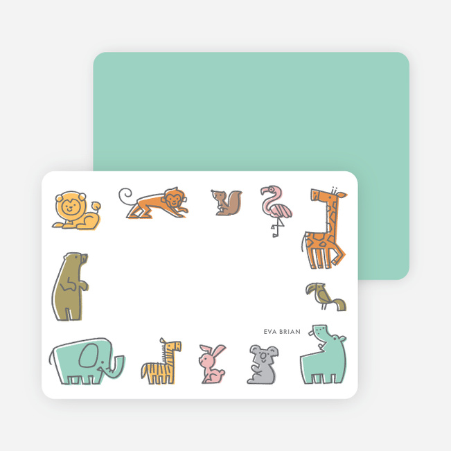 Animal Nursery Stationery - Blue