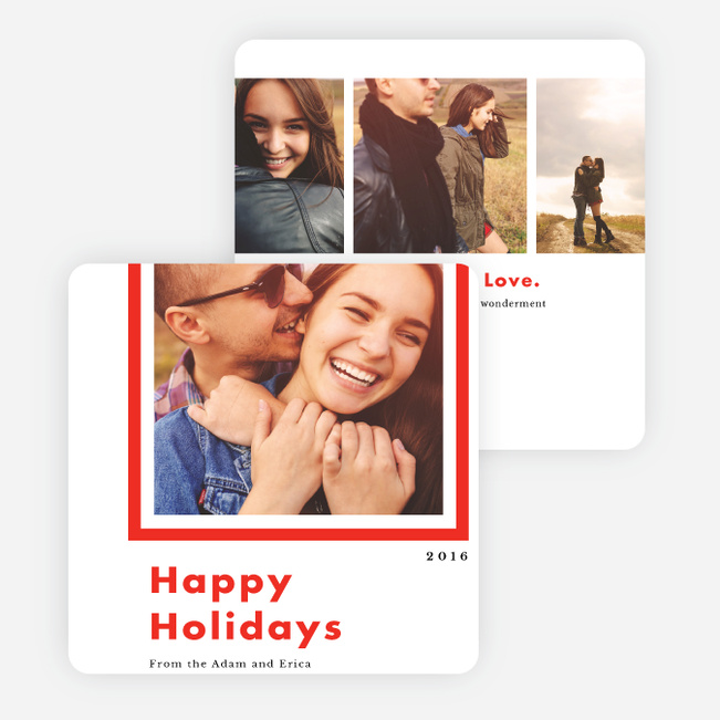 Bold Frame Holiday Cards - Red