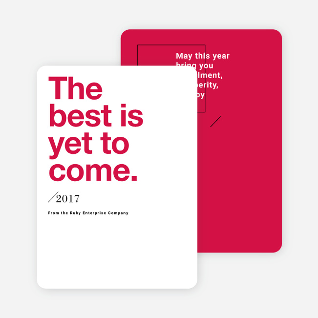 Bold Wishes Corporate New Year Cards - Red