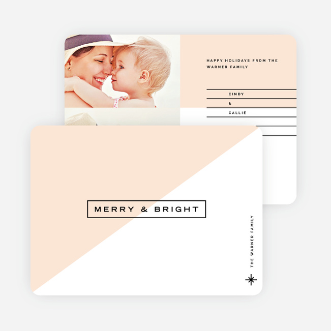 Color block Lines Holiday Cards - Pink