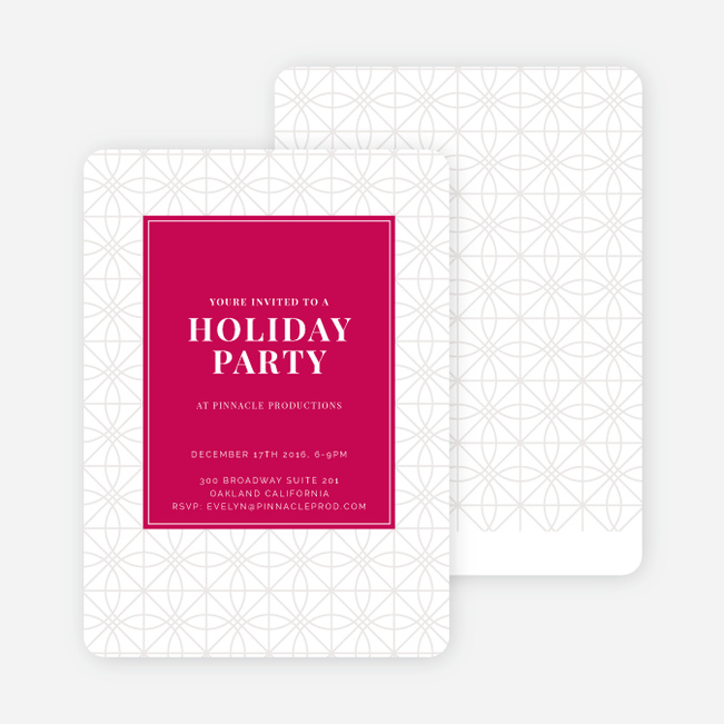 Festive Background Holiday Party Invitations - Red