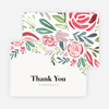 Floral Water Colors Wedding Thank You Cards - Red