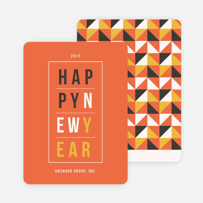 geometric modern triangles new year cards orange