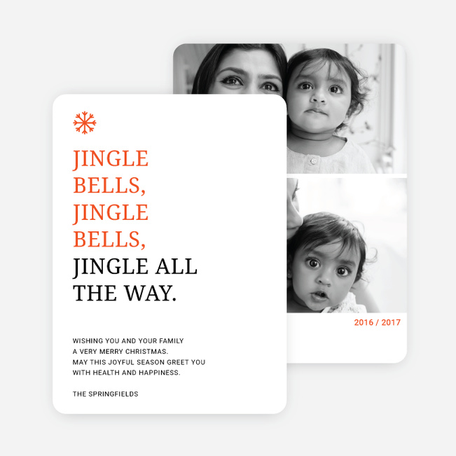 Jingle Bells Holiday Cards - Orange