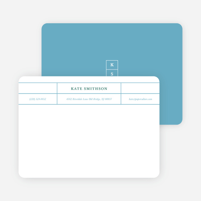 Monogram Grid Professional Stationery - Blue