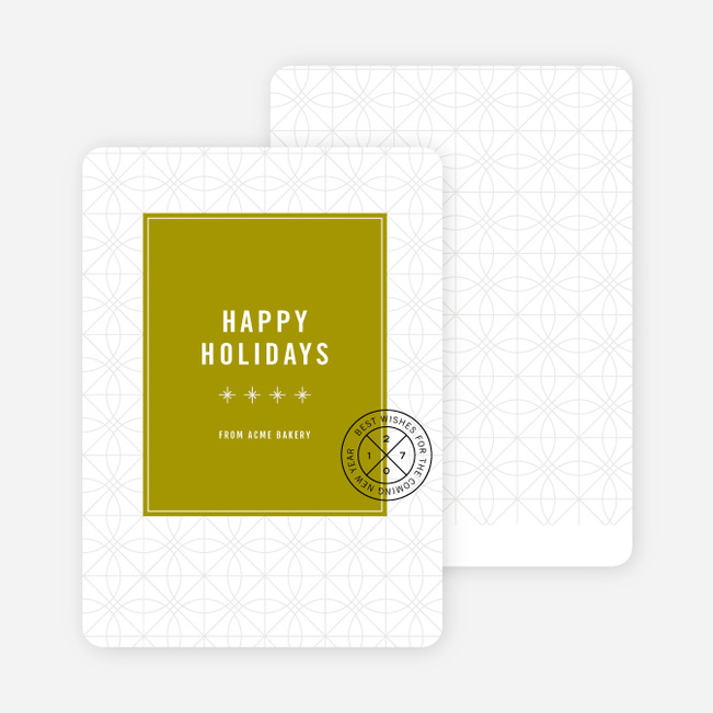 Stars & Ornaments Corporate Holiday Cards - Green