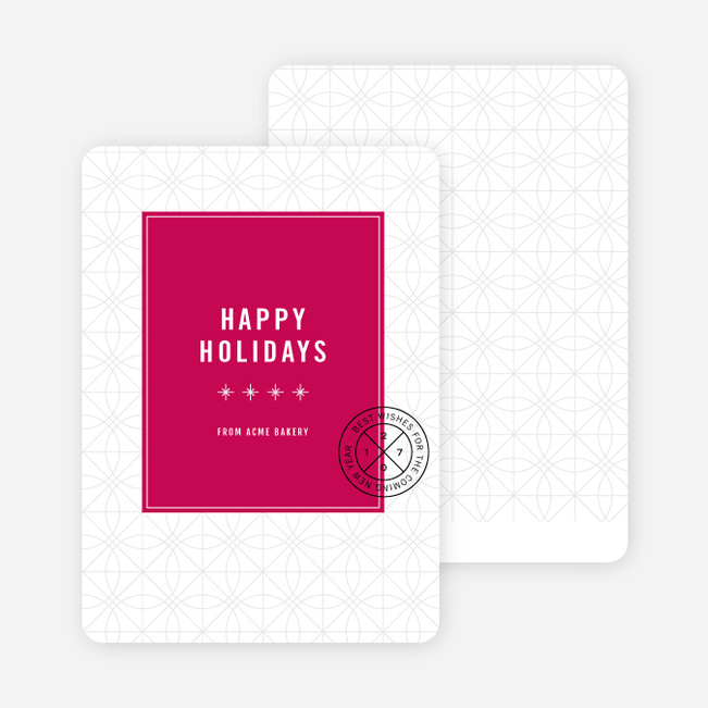 Stars & Ornaments Corporate Holiday Cards - Red