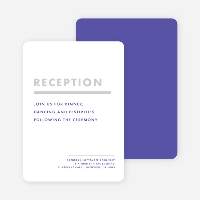 Today's Modernist Wedding Reception Cards - Purple