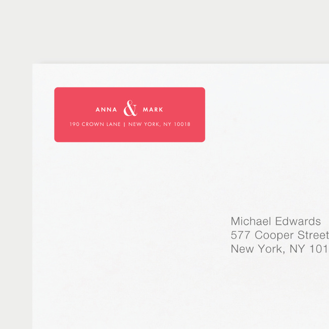 Ampersand Wedding Return Address Labels - Red