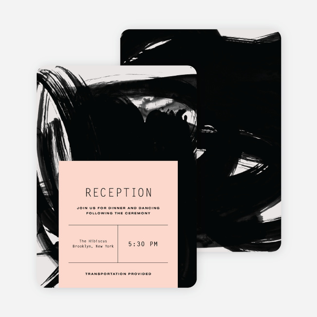 Bold Strokes Wedding Reception Cards - Pink