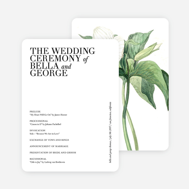 Botanical Bliss Wedding Programs - Black