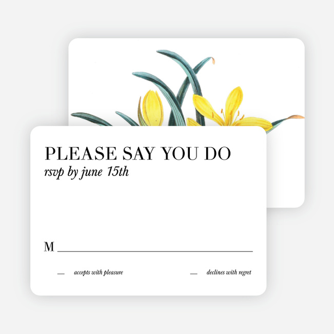 Botanical Bliss Wedding Response Cards - Black