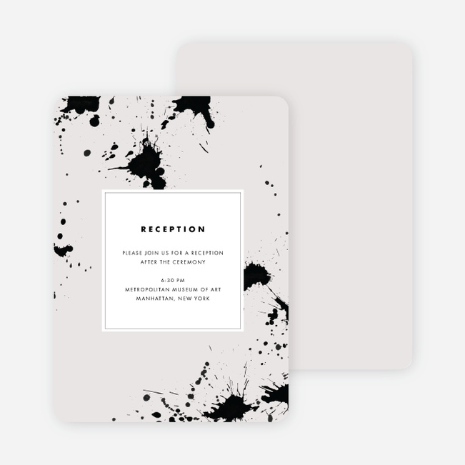 Brush Splash Wedding Reception Cards - Beige