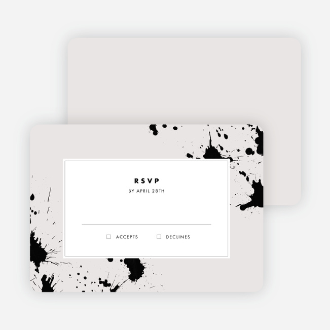 Brush Splash Wedding Response Cards - Beige