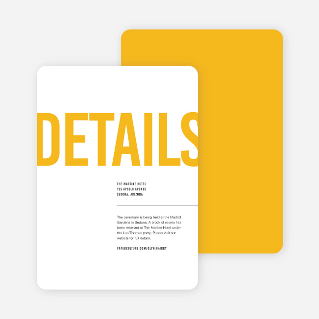 Color Type Wedding Direction Cards - Yellow