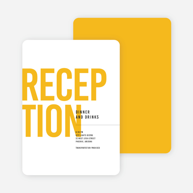 Color Type Wedding Reception Cards - Yellow