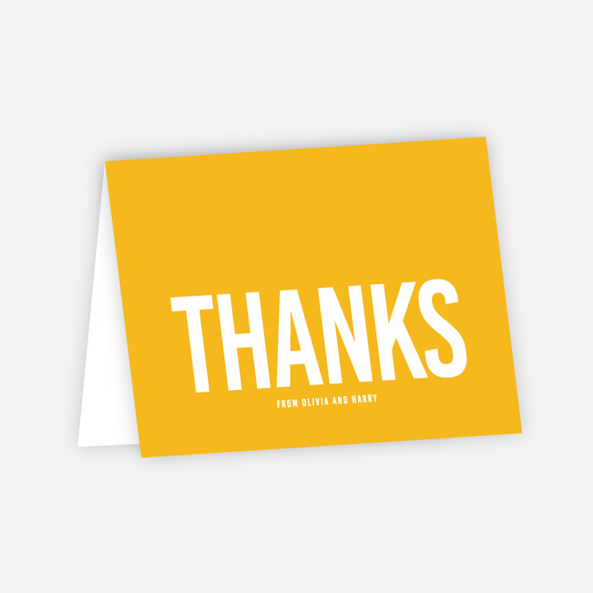 Color Type Wedding Thank You Cards - Yellow
