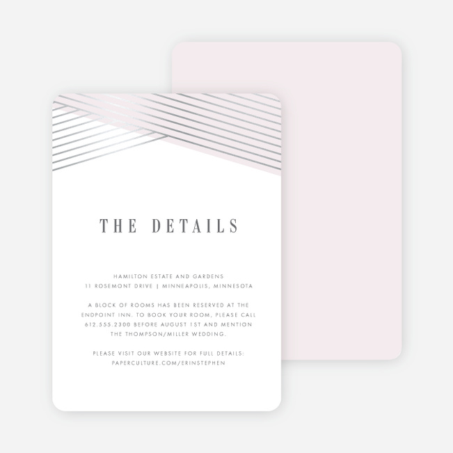 Diagonal Chic Wedding Direction Cards - Pink