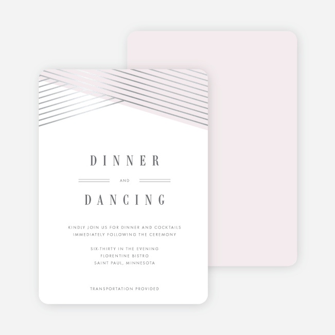 Diagonal Chic Wedding Reception Cards - Pink