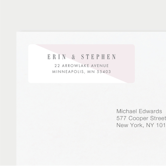 Diagonal Chic Wedding Return Address Labels - Pink