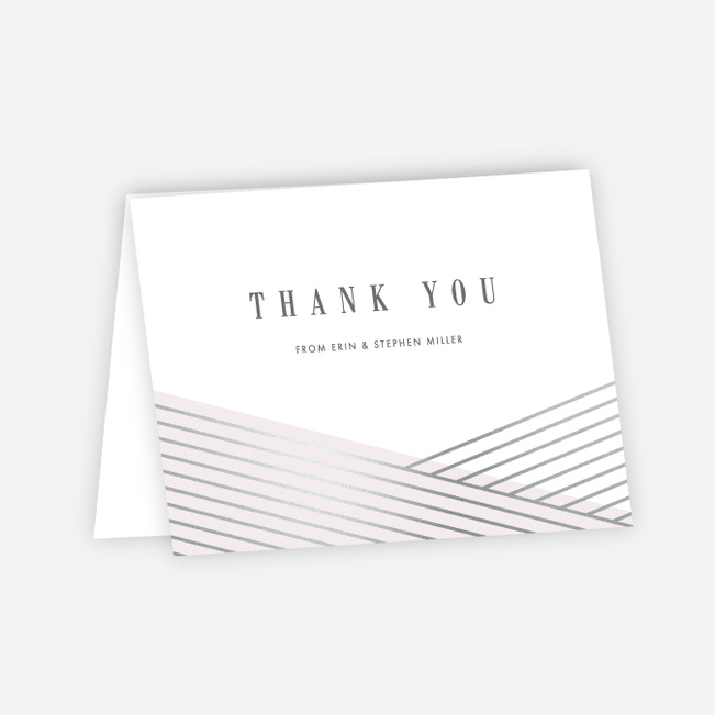 Diagonal Chic Wedding Thank You Cards - Pink
