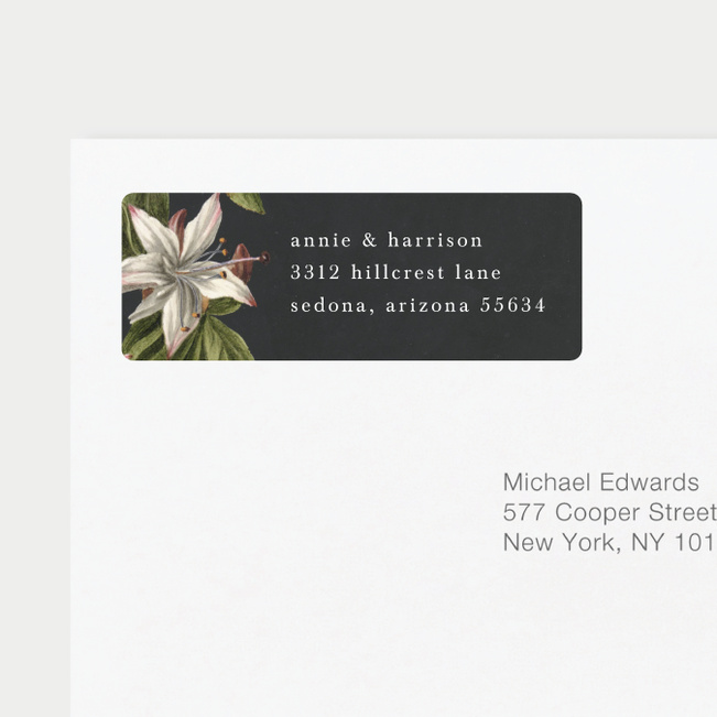 Floral Bliss Wedding Return Address Labels - Gray