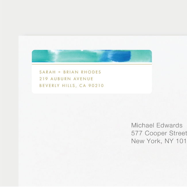 Infused Watercolors Wedding Return Address Labels - Blue