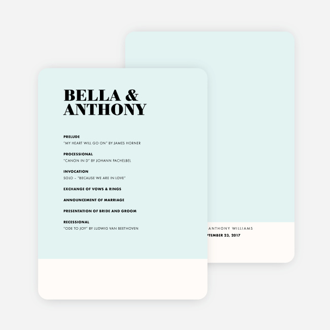 Modern Typography Wedding Programs - Yellow