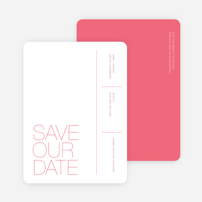 Stacked Type Save The Dates - Pink