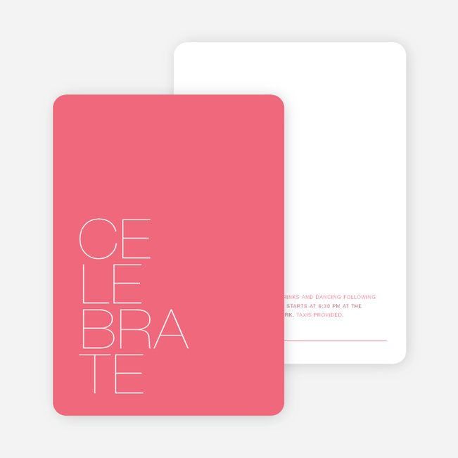 Stacked Type Wedding Reception Cards - Pink