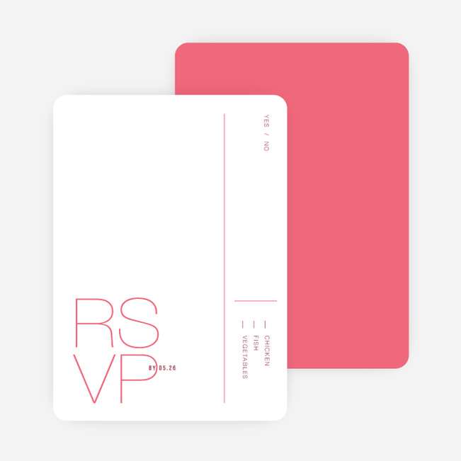 Stacked Type Wedding Response Cards - Pink