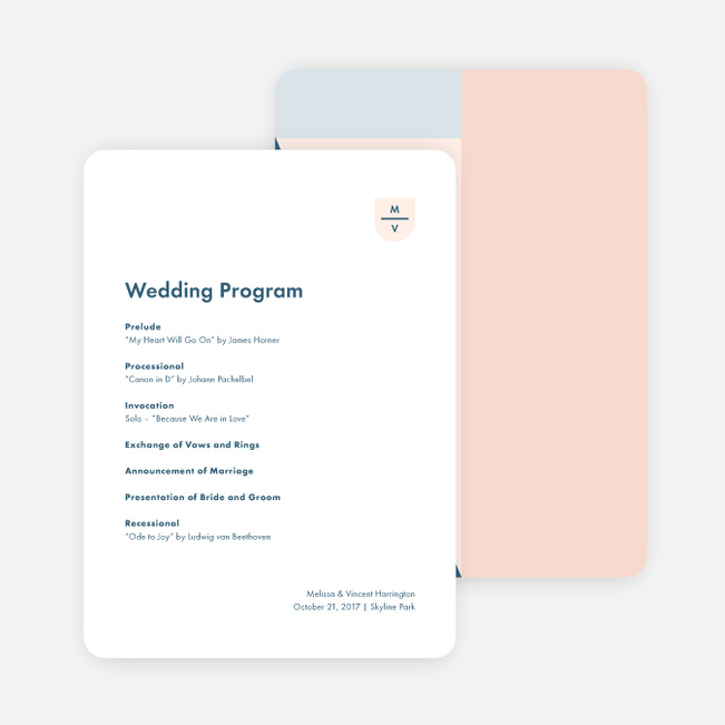 Taking Shape Wedding Programs - Pink