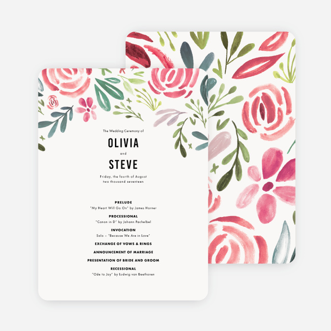 Floral Water Colors Wedding Programs - Red