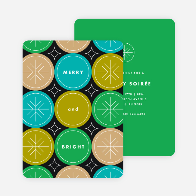 Circle Fun Holiday Invitations - Green