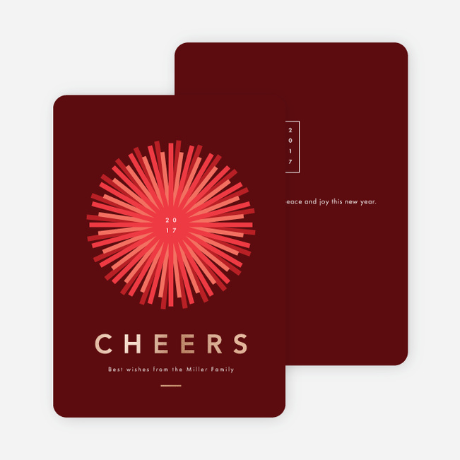 Foil Shine Bright New Year Cards - Red