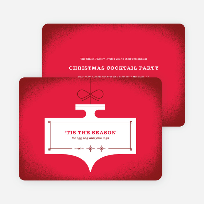 Ornament Party Holiday Invitations - Red