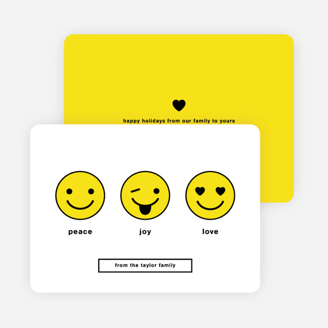 Emoji Love Holiday Cards - Yellow