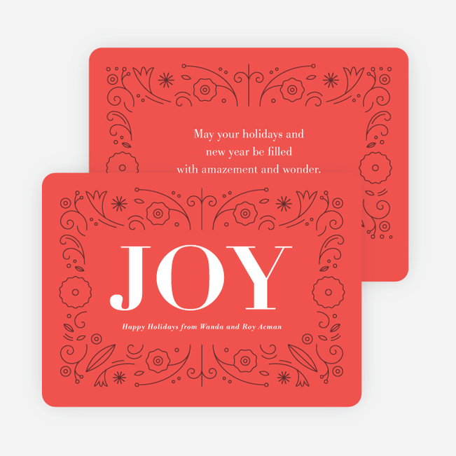 Floral Joy Holiday Cards - Red