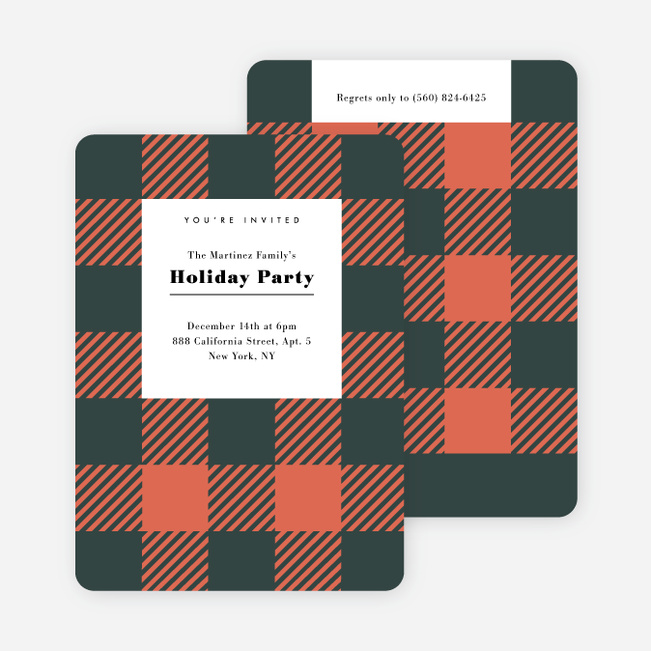 Plaid Party Holiday Invitations  - Red