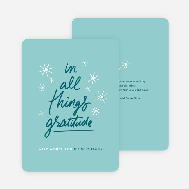 Be Thankful Family Holiday Cards - Blue